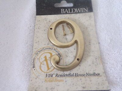 "Baldwin 3 1/4"" Solid Brass House Number 9"