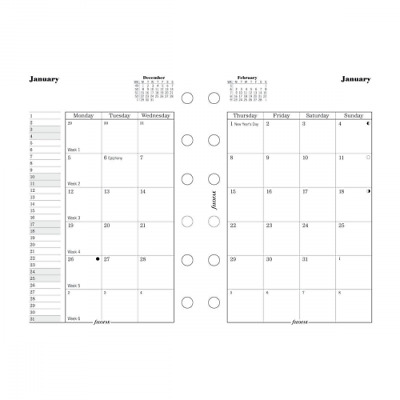Filofax Month on Two Pages Refill for 2016 Pocket Size Yearly Calendar, 4.75 x 3