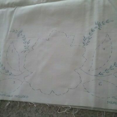 Vintage PILLOW CASE TUBING Stamped for Embroidery - Lot of 3 Merribee Art
