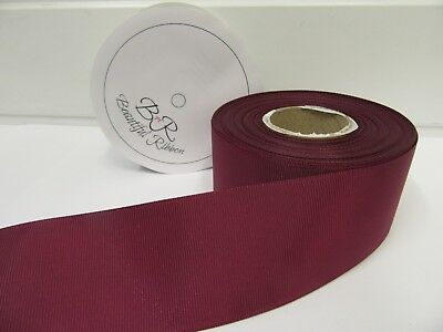 3mm 6mm 10mm 16mm 22mm 38mm 50mm BURGUNDY WINE CLARET Grosgrain Ribbon Ribbed