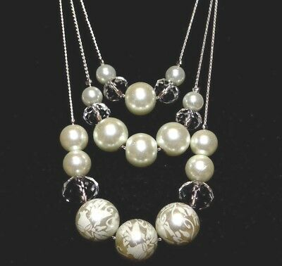White on White Floral 3 tier Faux Pearl Necklace Silver Tone Wedding