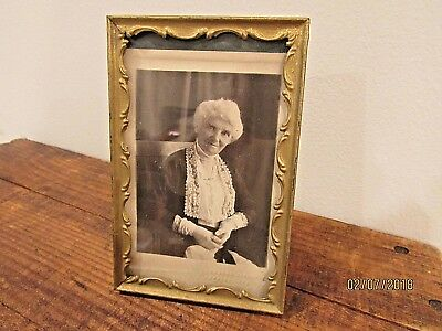 Antique Miniature Brass Picture Frame Victorian Grandma old vintage photography
