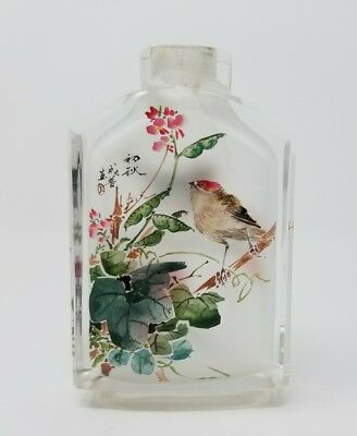 chinese snuff bottle inside painted glass spring fall birds signed