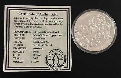 2017 Rwanda PROOF Silver African Hippo Wildlife ONLY 1000 Mintage With COA
