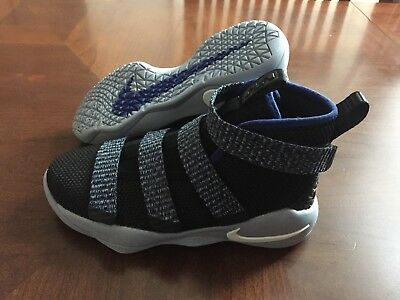 newest 7b418 4925c NIKE LEBRON SOLDIER XI Little Kids Black Blue Shoes Youth Size 11 918368-005