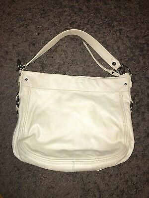 aeff7f2f22a3 COACH Pearl White Leather ZOE Leather Convertible Cross-Body Satchel Purse