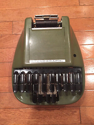Vintage Olive Green Reporter Shorthand Machine / Stenography Court Reporter