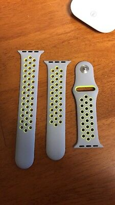 Original Genuine Apple Watch Band 38mm NIKE+ Flat Silver Volt - NEW AS PICTURED