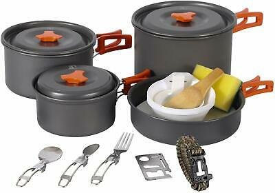 REDCAMP Outdoor Camping Cookware Set with Stove Anodized Aluminum Pots and Pans