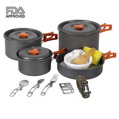 REDCAMP Camping Cookware Mess Kit Backpacking CookSet Camping Pots and Pans Set