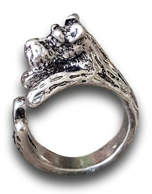 Schnauzer Dog Adjustable 3D Silver Tone Wrap Ring by Pashal