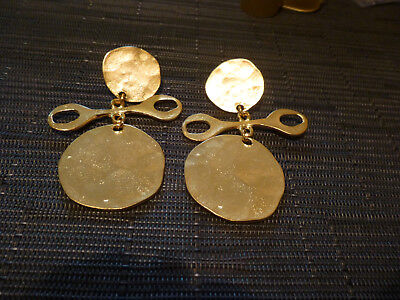 Kenneth J. Lane Unusual Hammered Funky Dangle Goldtone Pin Cup Post Back Earring
