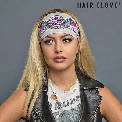Hair Glove® EZ Bandz® Floral Sugar Skull on Grey 50004 Biker Head Band Stretch