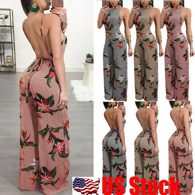 US Women Sexy Backless Stripe Floral Printed Wide Leg Jumpsuit Romper Long Pants