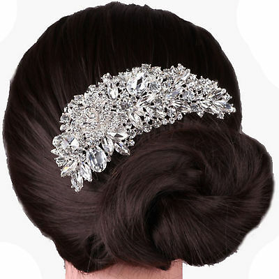 Bridal Crystal Hair Comb Diamond Silver Flower Bride Wedding Accessories US