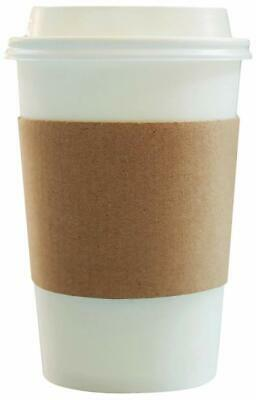 Disposable Paper Coffee Cups - Insulated - with Lids and Sleeves 12 oz 50 count