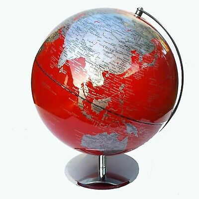 VIBRANT Educational World Globe Large Red QUALITY 30cm Office Home Decor Gift