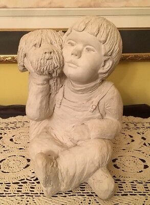 Signed Austin Productions 1990 BRIGHT EYES and his DOG Statue Sculpture