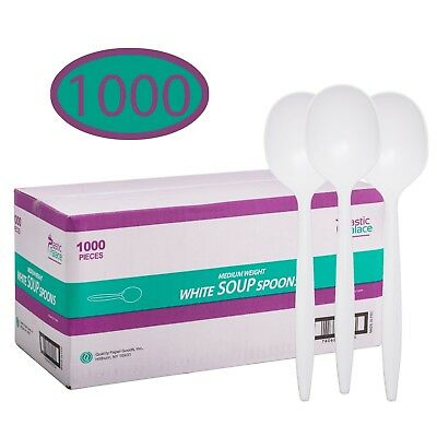Disposable Plastic Cutlery in Bulk, Medium Weight & White Soup Spoons 1000 Pack