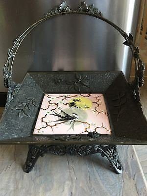 RARE Antique 1880's Aesthetic Japonist Silver Plated Basket Painted Ceramic Tile