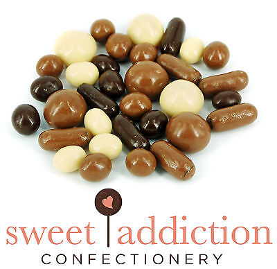 1kg Premium White Milk and Dark Chocolate Covered TV Mix - Assorted Choc Sweets