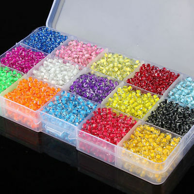 Czech 500x 4mm Hole:2mm Round Colorful Glass Seed Beads DIY Jewelry Making lot