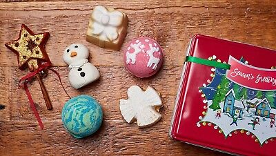 Lush Cosmetics Season's Greetings Tin Gift Set Golden Wonder Snowman Magic Bath