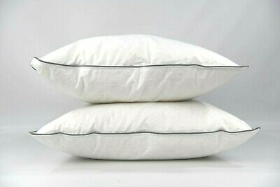New 100% DUCK FEATHER Pillow Pair Anti Allergy Cotton Casing Deluxe Quality x 2