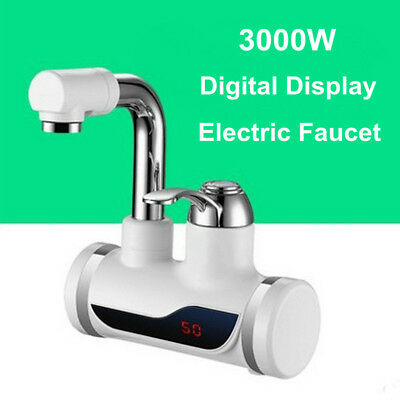 Kitchen Faucet 3000W Instant Fast Electric Hot Water Heater Digital Display