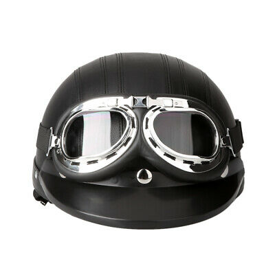 Motorcycle Scooter Open Face Half Leather Helmet with Visor UV Goggles W9P1