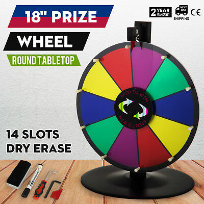 "18"" Round Tabletop Color Prize Wheel Spinnig Game Food Service Mark Pen 14 Slots"