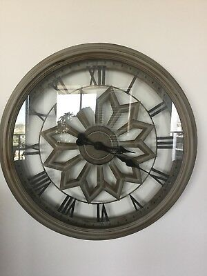 Large Round Wall Clock Metal and Wooden Industrial French Provincial Antique