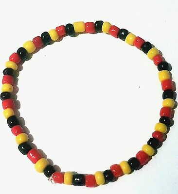 Seed Bead Bracelet, Red Yellow and Black. Australian Aboriginal flag colours