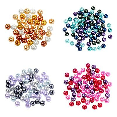 ❤ 4mm, 6mm, 8mm MIXED Colours Glass Pearls Spacer Beads Jewellery Making UK ❤