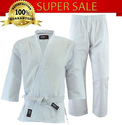Phenom Lightweight Polycotton White Karate Suit GI Uniform With Belt All Sizes