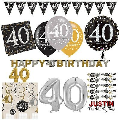 40th Gold Celebration Birthday Party Supplies Balloons Tableware & Decorations