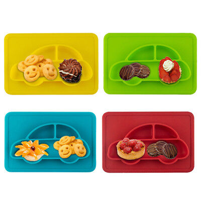 1pc Silicone Baby Bowls Plate Children Food Container Dishes Creative Car Shape
