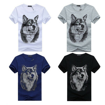 UK Men's O Neck Short Sleeve Wolf Head Tees Casual Tops T Shirts Blouse T-shirt