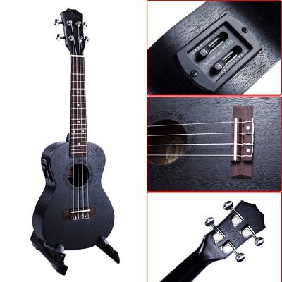 23 Inch Black Acoustic Electric Ukulele 4 Strings Mahogany Panel Ukulele Wz