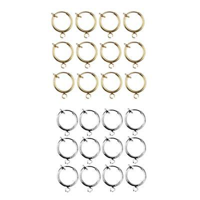 24pcs Spring Action No Piercing Fake Septum Lip Earring Nose Hoop Clip-On