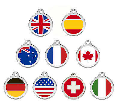 Red Dingo Engraved Dog ID Tags / Discs Flag UK / USA / Canada / Germany / Italy