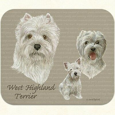 Puppy Lovers Designer Computer Mouse Pad-White West Highland Terrie Made In Usa!