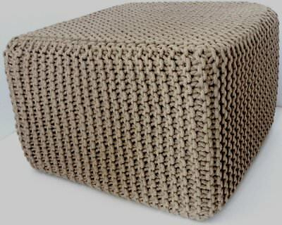 Elite Home Collection Braided Hand-Knitted Pouffe, 40 x 45cm, Latte