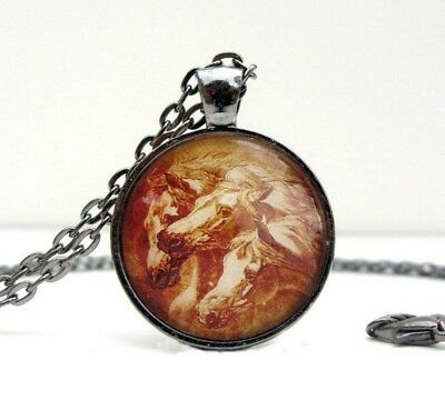 Pharaohs Horses Arabian Horse Vintage-look Glass Domed Necklace