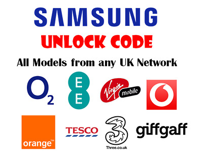 Unlock Code For 3 EE O2 Tesco Orange Vodafone UK Samsung Galaxy Note 3 4 5 7 8