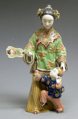 Oriental Mother Child Teaching Ceramic Porcelain Doll Figurine Statue
