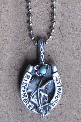 RIDE MORE WORRY LESS Pewter Necklace for Horse Women by SweetBird Studio