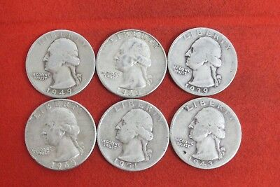 1939 1943D 1949 1951 1963D 1963D  Washington Quarter Silver Coin LOT OF 6