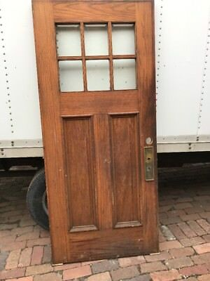 MAR 29 antique oak entrance door six beveled glass panels 35.75 x 80.25