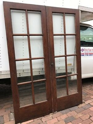 Mar 32 Matched Pair Antique Oak Beveled Glass French Doors 5' X 83.75